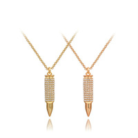 2015 New Fashion Hot Selling Jewelry Retro Punk Style Bullet Pendant Sweater Chain Necklace Real 18K Gold Plated