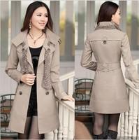 2015 Brand Korean Women's Plus Size Double-Breasted Long Slim Trench Scarf Coat Outwear Black,Khaki,Pink,Beige(M-XXXXL;4XL)