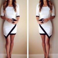 2015 Women Fashion Dress Sexy Black and White Irregular Dress Hip Contrast Color Stitching Sleeve Dress 12158