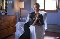 Tarik Ediz amazing design black embroidery 2 piece belt beaded modest prom dresses with sleeves 2015 for winter dress RT-626