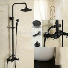"Oil Rubbed Bronze 8"" Rain Shower Head Brass Handshower Bathroom Shower Set Faucet Wall Mounted Dual Handle(China (Mainland))"