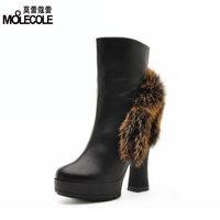 2014 fashion high-heeled shoes thick heels shoes rabbit fur boots fashion boots b55-1