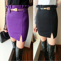 New Arrival Winter Women Skirt Fashion Slim Pleated Split Free Belt Pencil Skirts KB445