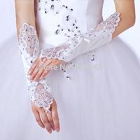 AJ015 New Arrival  Wedding Gloves Bride White Lace Satin Beads Fashion Wedding Bridal Gloves Bride Dress Glove Long Accessories