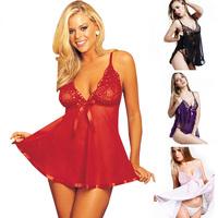 Sexy Women Lace Nightwear Straps Dress Deep V Babydoll G-String Erotic Lingerie M-XXXL Hot Freeshipping
