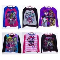 New Arrivel Kids Cartoon Monster High Top Girls Shirt Casual Long Sleeve Child Autumn t shirt Top Quality