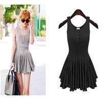 Vestidos 2015 Summer New Casual Desigual Sleeveless Cotton Pleated Dresses Vest Mini Sexy Dress S-XL Grey/ Black
