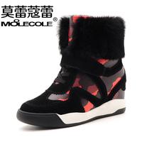 Winter thermal plus velvet snow boots elevator platform boots cow split leather rabbit fur color block decoration boots