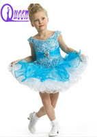 Cute Short Blue and White Lace And Tulle Dresses Kids Dancing Dresses With Crystal For Baby Girl 4-6 Years
