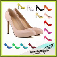 Fashion Style Nightclub Star Models Bridal Shoes Super High Heels Patent Leather Shoes Women Platform Shoes Heels 13 Colors