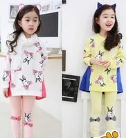 5sets/lot 2015 New arrival girls cartoon rabbit printed 2 pieces suit kids cotton lace leggings sets 145
