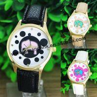 2015 Elephant Quartz Vintage Sports Watches For Men Leather Strap Cartoon Elephant Women Dress Wristwatch Relogio Feminino