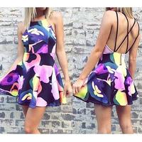 Popular Sexy Womens Sleeveless Printed Casual Clubwear Party Cocktail Mini Dress K5BO