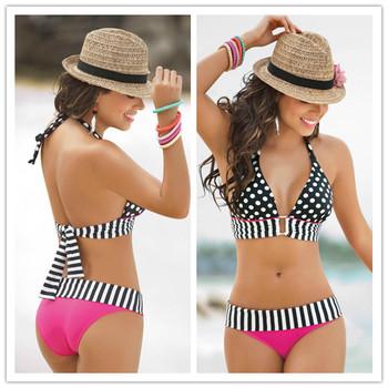 Лето купальный костюм сексуальная полоса бахрома с точкой triangl бикини сверху + снизу купальник для женщин купальники