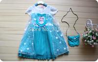 2014 summer new style princess dress/Casual girls snowflake dress with bag / Summer cool girl dress