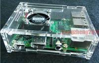 HIGH QUALITY  Cooling Fan Fr Raspberry Pi 512MB Model B+ (Plus)+Transparent Acrylic Case