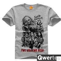 Free Shipping Unisex Cotton The Walking Dead Shirt Cute Gray Walking Dead Top For Men & Women
