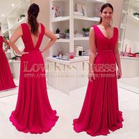 V Neck Tank Sleeves Bow Belt V Back Formal Dress Elegant Long Prom Dress Red Chiffon A Line Evening Dress Vestido De Longo 2015