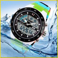 SKMEI 1016 Casual Sports Watches Fashion 50M Waterproof Dual Times Zone Digital Analog WristWatch Watch