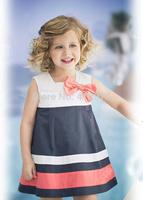 retail NEW 2015 baby girls clothes Stripe bow dress princess  girls Dresses kids dress free shipping AQZ122