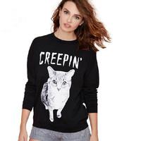New 2015 Cute Cat Letter Printed Sweatshirt Tracksuit for Women Hoody Casual Hoodies Black Long Sleeve Sport Suit Pullover