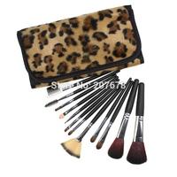 PRO 12 PCS Makeup Brushes Set  With Leopard Case For Eyeshadow Lip Blush Brush Makeup Tools Free Shipping