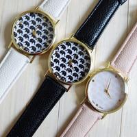2015 New Fashion Women Dress Watches Flowers Elephants Geneva Wristwatch Female Retro Leather Strap Quartz Watch