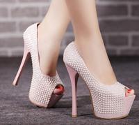 2015 Glitter Gorgeous Wedding Bridal Evening Party High Heels Women Shoes Sexy Woman Pumps Fashion Platform Diamond Shoes 415