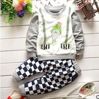 Free shipping 2015 spring fashion baby boy suit Korean baby boy  lattice fish clothing set A355
