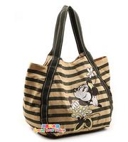 Kawaii Mickey Canvas Women Bag Striped Old Style Women Mummy Handbag