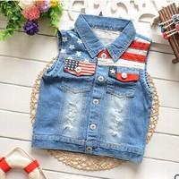 Free shipping 2015 spring baby girl's wear  Korean girls America Flag Lapel Jean vest A349