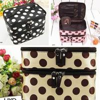 Women Retro Dot organizador de maquiagem Beauty Case Makeup Set Large Cosmetic bags case box make up Storage Toiletry Bag