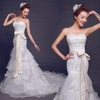 2015 New Europe Fashion Wedding Dress Strapless Bride Sexy Lace Mermaid Wedding Dress Slim Fit Train Wedding Dresses with Tail