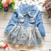 Free shipping 2015 children's wear spring Korean baby girls coat gir's pocket Lapel cowboy gauze cardigan A356