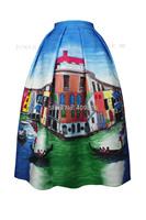 New Advanced Design Venice City Landscape Oil Painting Skirt Vintage Theatrical Print High Waist A-Line Pleated Vestido Festa