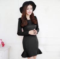 Hot Sale 2015 Spring Korean S M L XL XXL Lotu Long Sleeve O-neck Ruffles Women Dress Slim Cute Mini Dresses vestidos