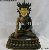 """[wholesale_jewelry_wig ] free shipping 10""""Tibet Buddhism Copper Purple Bronze 24K Gild Sakyamuni Buddha statue"""