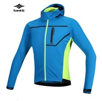 2015 Santic Thermal Hooded Cycling Jacket Composite Carbon Fiber W/ PU Windproof & Waterproof MTB Bike Jersey Sports Windbreaker