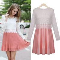 2015 European And American Women's Autumn Dress Lace Stitching Slim Round Neck Chiffon Dress   xjh381