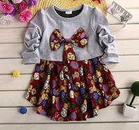 baby girls spring princess dress children floral printing bowknot dresses flwoer girl patchwork dress kids clothing JL-2234