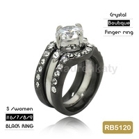 RB5120 Classic Women's Alloy Plated Black Ring, White zircon stone three finger ring , rhodium ring free shipping