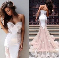 Attractive Mermaid Bridal Wedding Gowns 2015 vestidos de novia Sweetheart White Satin and Champagne Tulle Bridal Gowns
