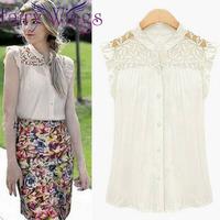 2015 Women Blouses Blusas Femininas Spring Summer Lace Hollow Out Shirt Sleeveless Plus Size Casual Elegant Fashion Shirt PH2711