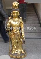 """[wholesale_jewelry_wig ] free shipping 36""""China Buddhism Fane Bronze Gild kwan-Yin Guan Yin Bodhisattva Buddha statue"""