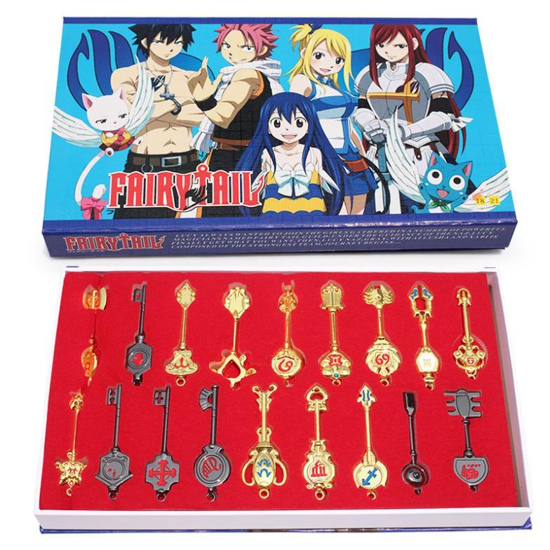 1 Set Retail New Arrival 18 Pcs/set Fairy Tail Keychain Set Toys Fairy Tail Key Set Modle Toys Free Shipping(China (Mainland))