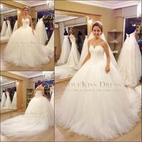 Vestidos De Novia 2015 Strapless Sweetheart France Lace Corset Bodice Ball Gown White Wedding Dresses DYQW562