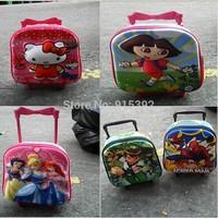 Free shipping 2015 Hello Kitty princess spider-man draw-bar box, mini kindergarten children EVA pull rod schoolbag