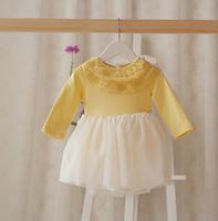 2015 New baby girls princess dress children cotton dress long sleeve lace collar 2 colors 5 pcs/lot wholesale 2058