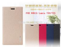 New 5pcs/lot For Nokia Lumia 730  BEPAK Flip Case For Nokia Lumia 730 735 Leather Case+Screen Protector+Retail Box Freeship