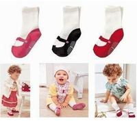 Fashion Anti-slip baby cute shoe Socks cotton Baby socks toddler's infant socks/Girl's ballet socks 3color
